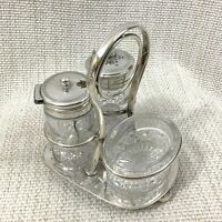 Antique Art Deco Cruet Set Silver Plate Glass Pepper Salt Shaker Mustard Pot Set