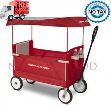 No Tax! Radio Flyer Deluxe 3-in-1 Ez Fold Wagon with Canopy - Red Limited New