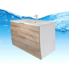 Waschtisch mit Waschbecken, Unterschrank Gently 2 80cm weiß / Eiche hell