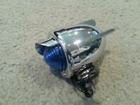 BICYCLE REAR DUMMY LIGHT BULLET WITH WINGS BLUE CHROME CRUISER CHOPPER LOWRIDER