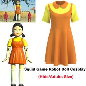 Squid Game Robot Doll Cosplay Yellow Little Girl Halloween Costume Kids Adults