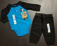 GARANIMALS Infant Boys Creeper & Woven Pant *2* 3-6 M  Long Sleeve BLACK AQUA
