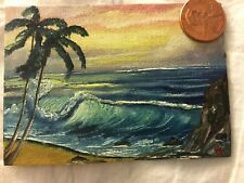ACEO handmade art downsizing seascape sea ocean wave beach trees paradise island