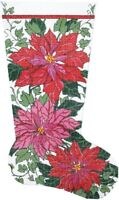 """Needlepoint HandPainted LEE Christmas Stocking POINSETTIA and IVY 23"""""""
