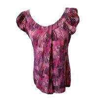 Ann Taylor Med Pink Magenta Black Brushstroke Knot Scoop Neck Short Sleeve Top