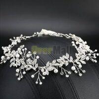 New 110cm Pearl Wedding Hair Vine Crystal Bridal Accessories Diamante Headbands