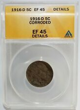 1916 D Buffalo Indian Head Nickel Certified ANACS EF 45 Corroded 5c US Coin