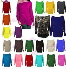 New Womens Long Sleeve Off Shoulder Mini Batwing Tunic Dress Baggy Top UK 8-26