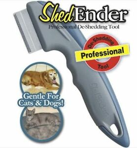 Shed Ender Professional De-Shedding Tool for Pets Animals Dogs Cats Gray As Seen