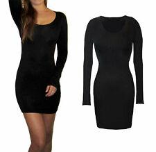 Womens Ladies Long Sleeve Style Bodycon Mini Stretch Dress Size 8 10 12 14 16 18