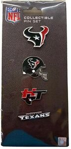 HOUSTON TEXANS NFL TEAM COLLECTIBLE 4 PIN SET NEW IN PACKAGE