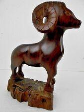 "Indigenous Wood Carving Bighorn Sheep/Ram/Mountain Heavy Folk Art 12"" high EUC"