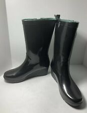 Clarks Women's Rain Wellies Black Gloss Rain Boot Sz 10