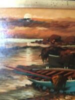 Signed Oil On Board Seascape Sunset Row Boat On Shore Professional Frame