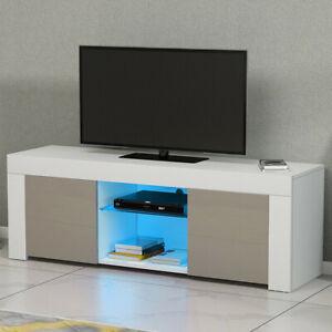 Modern TV Unit Stand White Cabinet Matt & High Gloss Doors Sideboard  FREE LED