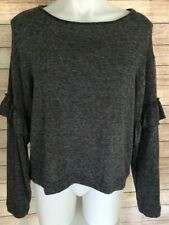 ZARA Collection Women's Grey Long Sleeve Cropped Top Size M