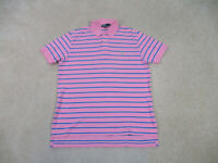 Ralph Lauren Polo Shirt Adult Extra Large Pink Green Pony Rugby Cotton Mens B93*