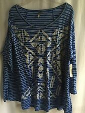 NWT Size 2X NEW DIRECTIONS KNIT TOP 100% Cotton Blue White Pinstripe/Geom $40