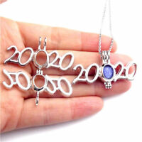 K480 Pearl Beads Cage New Year No. Christmas 2020 Silver Stainless Necklace