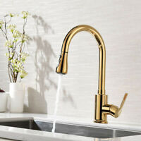 Gold Pull Out Sprayer Kitchen Sink Faucet Single Hole Handle Swivel Spout Filler