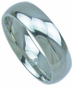 6mm Solid TITANIUM Plain High Polished Wedding Band Ring Mens Womens size 8-12