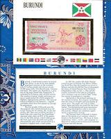 E Banknotes of All Nations Burundi 20 Francs 1989 P-27b UNC prefix BR