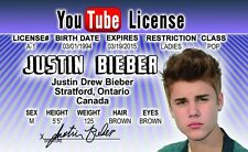 Justin Bieber novelty plastic collectors card Drivers License