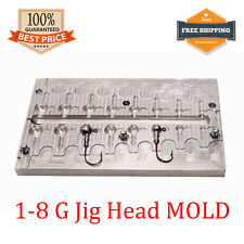Fishing JigHead Mold Lead Jig Head Sinker Weights 8 cavity (1 - 8 G)