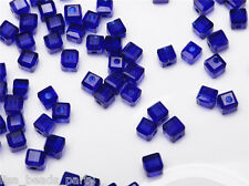 50pcs 4mm Cube Square Faceted Crystal Glass Charms Loose Spacer Beads Royal Blue