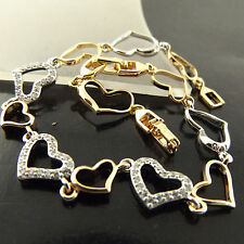 FSA496 GENUINE 18K YELLOW WHITE GF GOLD DIAMOND SIMULATED HEART BRACELET BANGLE