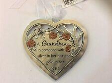 Grandma Silver Gold Heart Ganz Inspirational Ornament Plaque Nwt Flower Garden