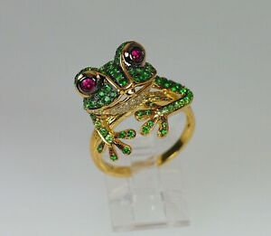 14K Yellow Gold FN 2CT Round Cut Ruby & Emerald Frog Animal Ring Valentine Gift