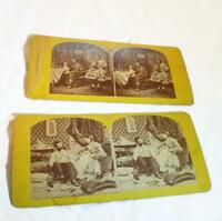 2 Antique Stereoscope Stereoview Cards - Wisconsin Estate Find -Yellow Cardstock