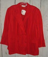 NWT Elisabeth Red Linen Blend Blazer Jacket Liz Claiborne Sz 24 Career Plus Size