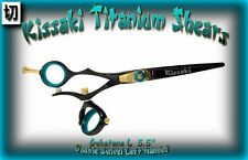 "Kissaki Left Hand Hair Scissors 5.5"" Gokatana L Black Blue DOUBLE SWIVEL Shears"