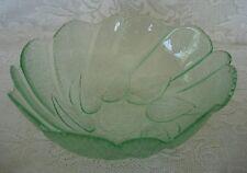 Collectible Vintage Light Green Pressed Glass Leaf / Leaves Serving Bowl