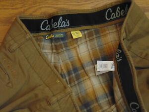 Cabela's Classic Fit Flannel Lined Flex Waist Flat Front Khaki Pants  48 X 32