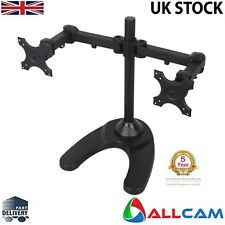 "MMS10D Dual Two Monitor Arm Desk Stand Mount w/Adjustable Height & Clamp 13""-27"""