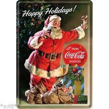 Nostalgic Art Blechpostkarte 10x14 cm Coca Cola Santa Happy Holidays Weihnacht #
