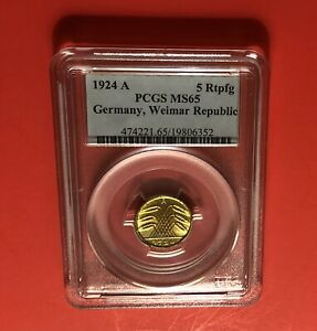 GERMANY-1924A -OUTSTANDING UNCIRCULATED 5 PFENNIG COIN,CERTIFIED BY PCGS MS 65.