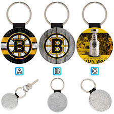 Boston Bruins Sporty Leather Glitter Key Chain Keyring Car Ring Silve
