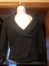 46133e19666bd3 LA ROK TUXEDO STYLE CROPPED DOUBLE BREASTED 3 4 Sleeve Lined Black Jacket Sm