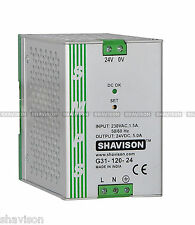 Shavison SMPS G31-120-24, CE Marked, I/P: 230VAC, O/P: 24VDC, 5A, DIN Rail Mount