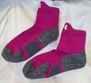 UNDER ARMOUR UA ArmourGrip Pink White Quarter Basketball Socks NEW Mens M 6-8