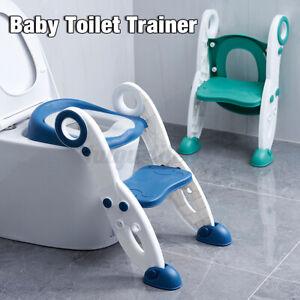 Kid Toilet Seat Ladder Baby Potty Training Toddler Step Chair Non Sli