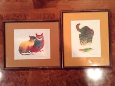 2 POTE SANGAWONGSE CAT LOVERS ETCHING HAND SIGNED IN PENCIL