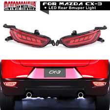 Red LED Reflector Rear Bumper Lights Brake Tail Lamp For Mazda CX-3 2016 2017