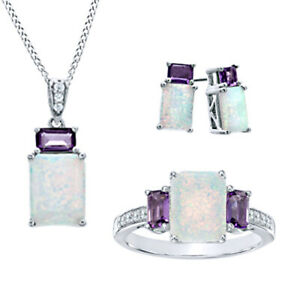 14K White Gold Over Opal, Amethyst & White Sapphire Pendant,Ring & Earrings Set