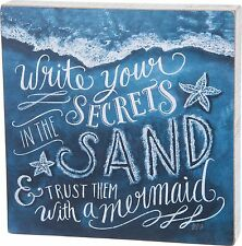 Write Your Secrets In The Sand & Trust Them With A Mermaid Box Sign Beach New!