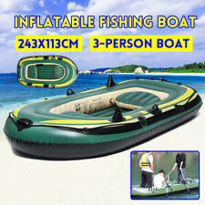 243*113cm 3 People Inflatable Fishing Rowing Boat Raft Canoe Kayak Dinghy Air